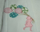 Shabby Edged Pastel Appliqued Balloons Burp Cloth/French Applique Design