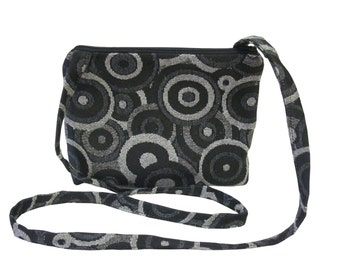 Small Cross body Bag/ Messenger Bag/ Abstract  Print in Black and Gray.