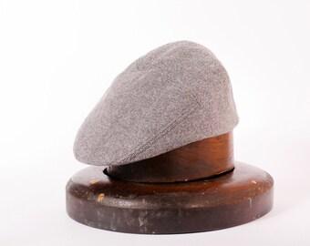 Mens tweed grey woolen flat cap hat / golf hat autumn winter cap