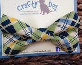 "Dog Bow Tie - Preppy Argyle Blue, Green - ""Sam"""