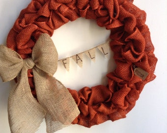 Burlap Fall Wreath, Fall Wreath, Autumn Wreath, Orange Wreath, Thanksgiving Wreath, Dark Orange Wreath, Bubble Wreath