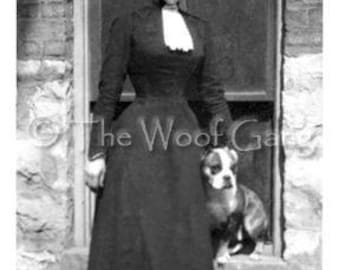 Vintage Dog Card --Woman with Upswept Hair and Pit Bull, Chicago, 1910
