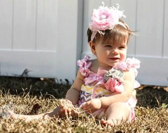 Baby headband, baby headbands, pink headband, newborn headband, hospital headband, shabby chic headband, flower headband, hair bows