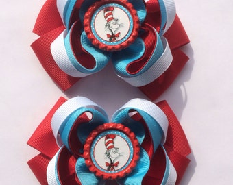 the cat in the hat Hair Bow Set