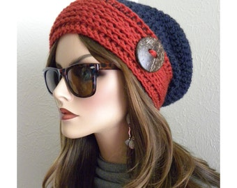 Slouchy Beanie Hat, Womens Hat, Beanie, Winter Hat, Blue and Orange hat, Crochet hat, Hat for teens, Knitted hat