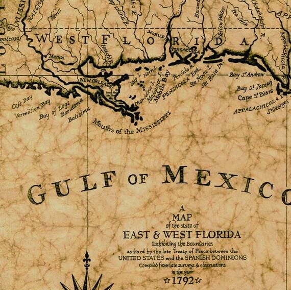 Gulf Of Mexico Map C 1792 Hand Drawn Map 12 X 16 Florida Maps Old Maps And Prints Louisiana Coast Mississippi Coast Georgia Coast