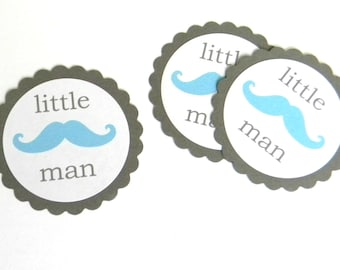 12 Little Man Teal Mustache Scalloped Embellishments