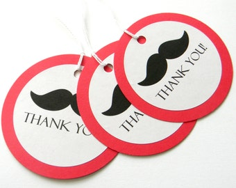 12 Mustache Thank You Tags