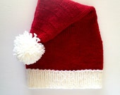 Knit Santa Hat, Santa Claus Hat, Santa Clause Hat, christmas hat, elf hat, santa costume, baby santa hat, merry christmas, holiday hats,
