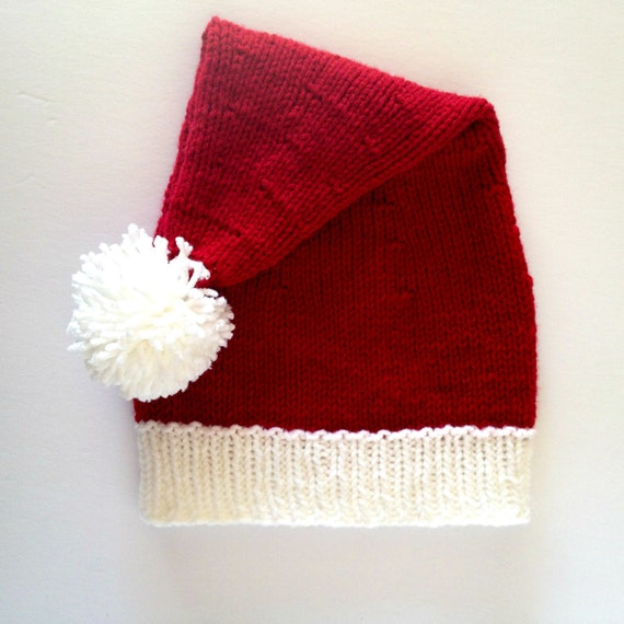Knit Santa Hat Pattern : Knit Santa Hat Santa Claus Hat Santa Clause Hat by KnittingbyKali