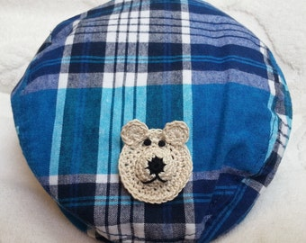 Boys Baby Infant Toddler Newsboy Golf Cabbie Cap Hat - Handmade Teddybear Face- Blue Plaid - Sizes 6-12, 12-24 months, 2-4 years, 4-6 years