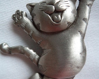 Vintage Signed JJ Silver pewter Jump for Joy Cat Brooch/Pin