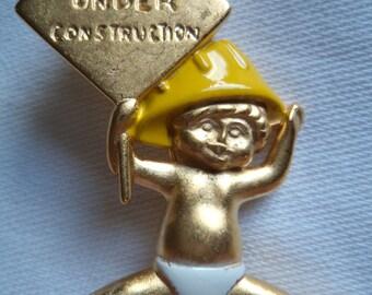 Vintage Signed Danecraft  Goldtone Baby Under Construction Brooch/Pin