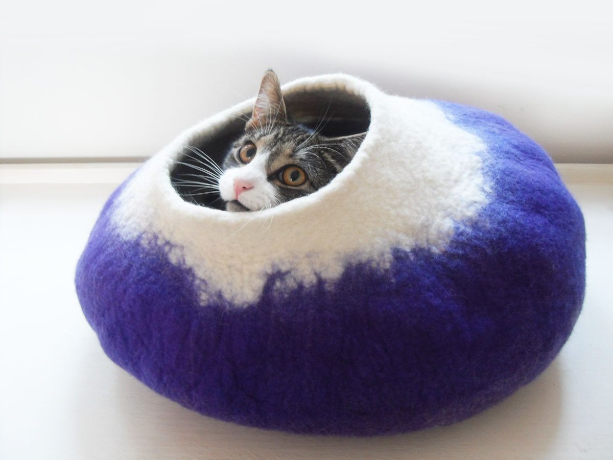 Cat Bed Cave House Cocoon Hand Felted Wool Purple With Free