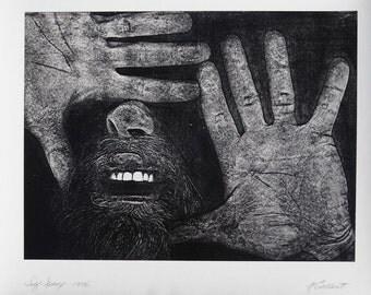 Self Xerox bearded man portrait vintage art photo by M. Gallant