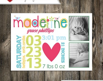 Baby Announcement: Baby Girl Madeline Grace Custom Multi-Photo Digital Birth Announcement