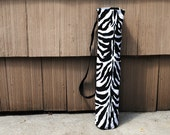 Yoga Mat Tote Bag Zebra Black White Cotton Twill