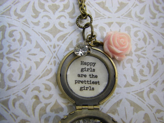Happy girls are the prettiest girls necklace locket audrey for Audry rose jewelry reviews