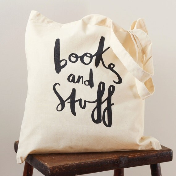 Books and Stuff tote bag - screen printed canvas tote shopping bag - shoulder bag - beach tote - canvas tote bag