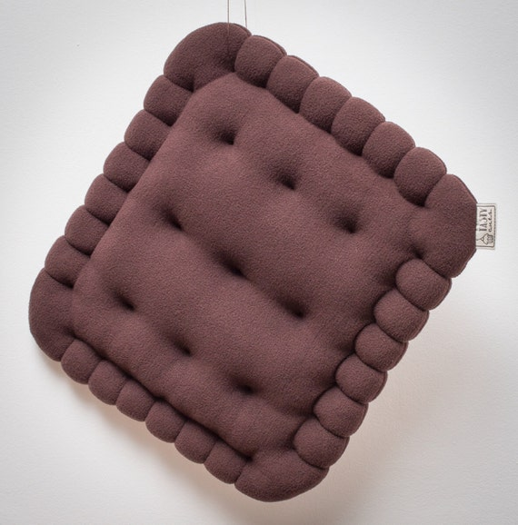 Chocolate brown cookie pillow