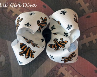 White, Black & Gold Fleur di Lis Bow, New Orlean Saints Bow