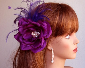 Wedding Accessory Purple Hair Clip Bridal Accessory Hair Flower Clip Brooch