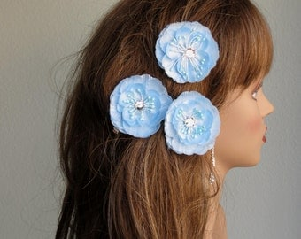 Light Blue Flower Hair  Clip Wedding Accessory Hair Clip Bridal Accessory Crystals