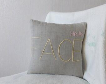 FACE pillow, linen pillow, hand embroidered pillow, hand embroidery pillow, gray pillow, HELLO pillow