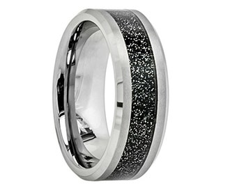 Tungsten Wedding Band,8mm,Tungsten Wedding Ring,Anniversary Band,Engagement,Grooms Ring,Brushed Polish,Handmade,His,Hers,Tungsten Inlay Ring