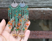 Very Long Boho earrings Green earrings hand knitted beaded earrings macrame earrings Bohemian elegant earrings