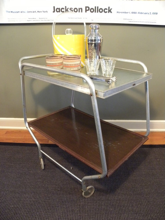 Bar Cart / Tea Cart / Vintage / Mid Century Rolling Bar / Serving Table /  Kitchen