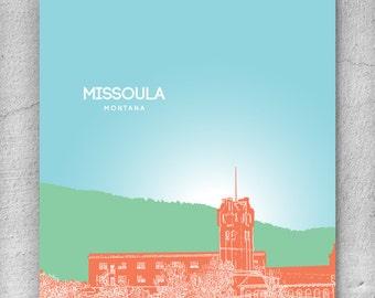 Skyline City Art / Missoula Montana Skyline / Home Office Art Poster Print / 8x10 Print Any City Available