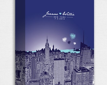 Personalized 16x20 Skyline Canvas Gallery Wrap / Anniversary Gift / Any City or Landmark