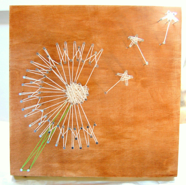 Dandelion string art custom wall art by paisleypoppydesigns for Custom wall art