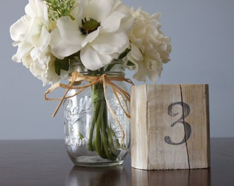 Rustic Table Numbers, Shabby Chic Table Numbers Wedding Decor Set of 10