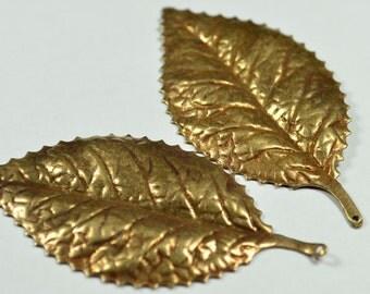 6 Pieces Antique Bronze  59X30 mm Big Leaf Findings