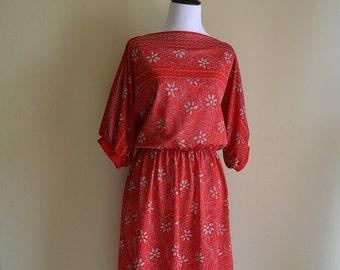 Vintage 1970's Lady Carol Red Floral Dress