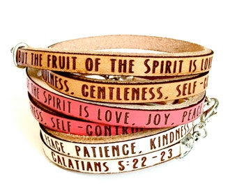 fruit of the Spirit- Galatians 5:22-23 Daily Reminder Leather wrap bracelet
