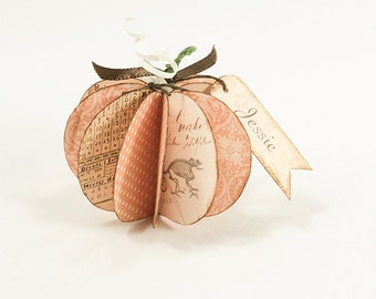 Paper Pumpkin Rustic Halloween Fall Decor Digital Collage Instant Download