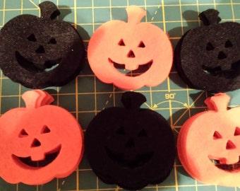Felt diecut Sizzix Pumpkins appliqué toppers scrapping crafts felting Halloween