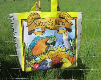 Upcycled FarmSwag Feedbag Tote. Nature's Buffet/ Gourmet Bird Diet - Handmade in Kalispell, Montana USA. FREE USA Shipping