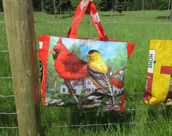 "Upcycled FarmSwag ""Chirp"" Wild Bird Feed- Feedbag Tote / Market Bag. *FREE USA Shipping*"