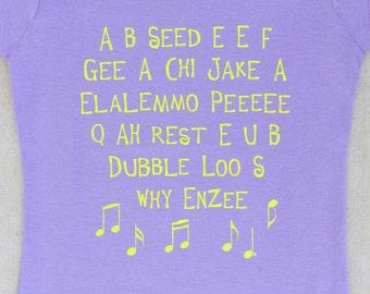 SALE - ABC - Funny Alphabet Song Toddler & Youth Girl Lavender Graphic T-shirt // Preschool // Kindergarten