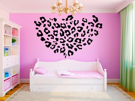 Leopard Print Girls Teen Room Vinyl Wall Decal By StickerHog