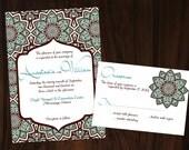 Printable DIY Moroccan Wedding Invitation No.95 -  Blue Brown OR Purple Orange
