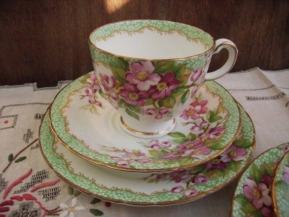 1 vintage delphine 'orchard' bone china  green and pink,  tea cup trio. elegant art deco, serving, home decor, housewares,