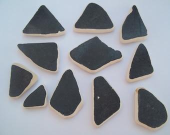 Scottish Sea Glass beach finds 11 black sea pottery shards