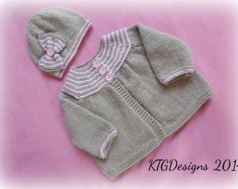 Knitting pattern instructions to knit baby girls matinee cardigan and hat set in 4 sizes from newborn - 12m pdf instant digital download