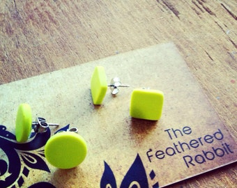 Wasabi Green Ear Stud Surgical Steel