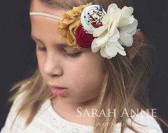 Ivory Mustard Burgundy Headband, Cream Burlap Flower  Double Rosettes Headband ,Mustard Chiffon FlowerFall Girl headband